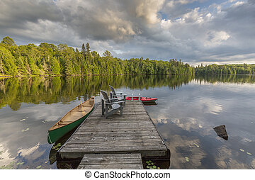 canoa, canadá, lago, muelle, ontario, kayac, atado