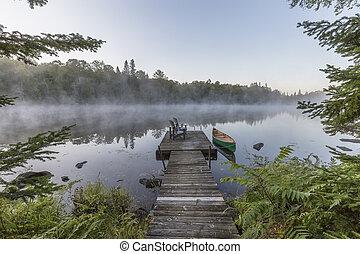 canoa, canadá, -, muelle, brumoso, ontario, mañana, verde