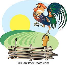 Cantando gallo y sol matinal.