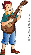 Cantante masculino y guitarrista, ilustración