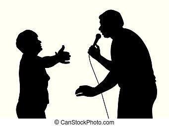 Cantante masculino y su fan desde hace mucho tiempo