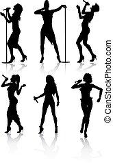 cantantes, conjunto, silueta, hembra