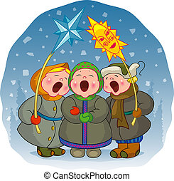 cantar, niños, navidad, canción