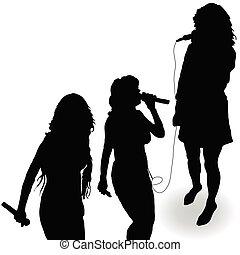 canto, micrófono, silueta, niña, negro