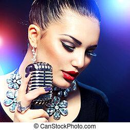canto, mujer, micrófono, retro