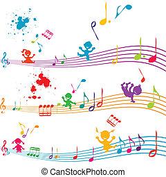 canto, niños, travesaño, coloreado