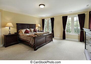 caoba, dormitorio, maestro, muebles
