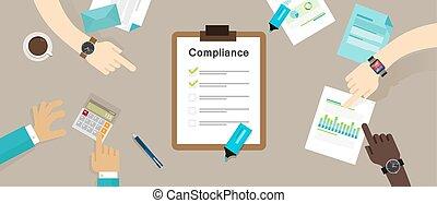Caompliance a la regulación de la empresa estándar de la industria