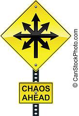 caos, adelante, señal