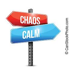 caos, calma, ilustración, señal