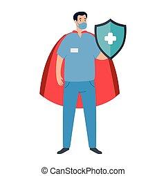 capa, paramédico, súper, protector, héroe, macho