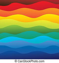 capas, arco irirs, colorido, y, esto, vibrante, resumen, contiene, -, espectro, ilustración, aguas océano, colores, vector, liso, plano de fondo, ondas, (backdrop), graphic.