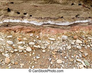 capas, depositar, banded, sedimento, geológico