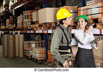 capataz, acción, supervisor, señalar, estantes
