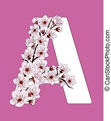 capital, flor, modelado, ramita, carta, cereza