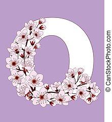 capital, flor, modelado, ramita, carta, q, cereza