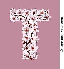 capital, flor, modelado, ramita, carta, t, cereza