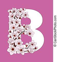 capital, flor, modelado, ramita, letra b, cereza