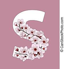 capital, flor, modelado, ramita, s de carta, cereza