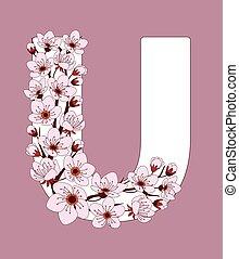 capital, flor, modelado, u, ramita, carta, cereza