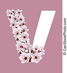 capital, flor, modelado, v, ramita, carta, cereza