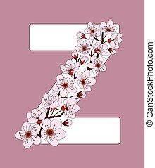 capital, flor, modelado, z, ramita, carta, cereza