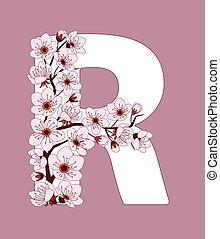 capital, flor, r, modelado, ramita, carta, cereza
