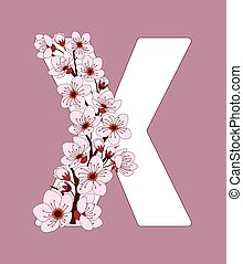 capital, x, flor, modelado, ramita, carta, cereza