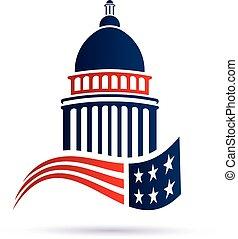 capitolio, vector, flag., diseño, logotipo, norteamericano, edificio