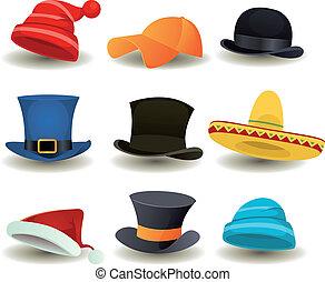 Caps, sombreros de copa y otros trajes de cabeza