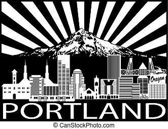 capucha, monte, portland, negro, blanco, contorno, ciudad, ilustración