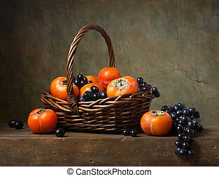 caquis, vida, cesta, uvas, todavía