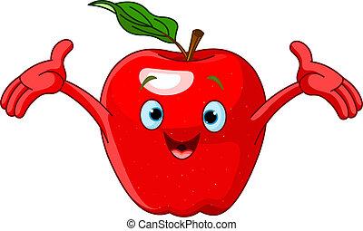 carácter, caricatura, alegre, manzana