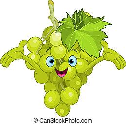 carácter, caricatura, alegre, uva
