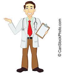 carácter, caricatura, doctor