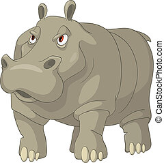 carácter, caricatura, hipopótamo