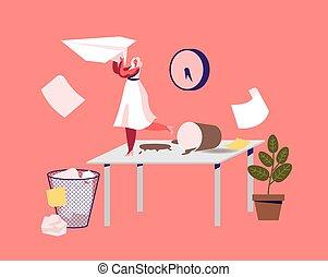 carácter, desordenado, mujer de negocios, workplace., diminuto, escritorio, unmotivated, oficina, perezoso, trabajador, unorganized