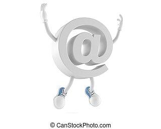carácter, e-mail, saltar