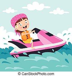 carácter, esquí, chorro, divertido, caricatura, equitación