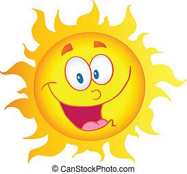 carácter, feliz, caricatura, sol
