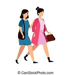 carácter, grupo, avatar, mujeres