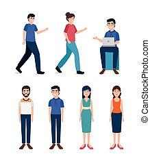 carácter, grupo, gente, joven, avatar
