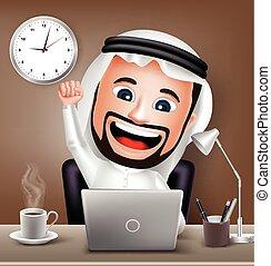 carácter, hombre, árabe, trabajando