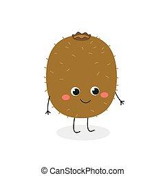 carácter, lindo, vector, alegre, kiwi, ilustración, caricatura