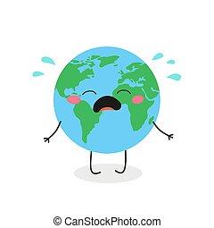 carácter, llanto, vector, caricatura, ilustración, lindo, tierra