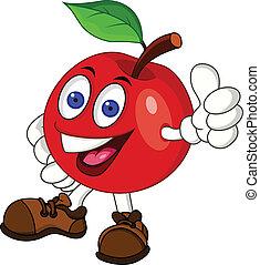 carácter, manzana, rojo, caricatura