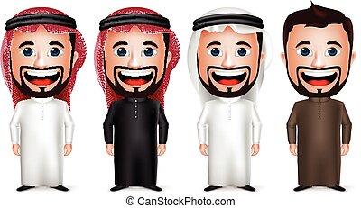 carácter, saudí, árabe, hombre de negocios