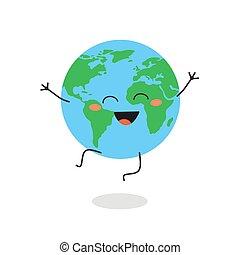 carácter, vector, caricatura, ilustración, planeta, feliz, tierra