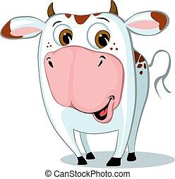 carácter, vector, caricatura, ilustración, vaca, lindo, divertido