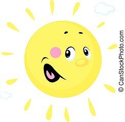 carácter, vector, caricatura, lindo, sol, ilustración